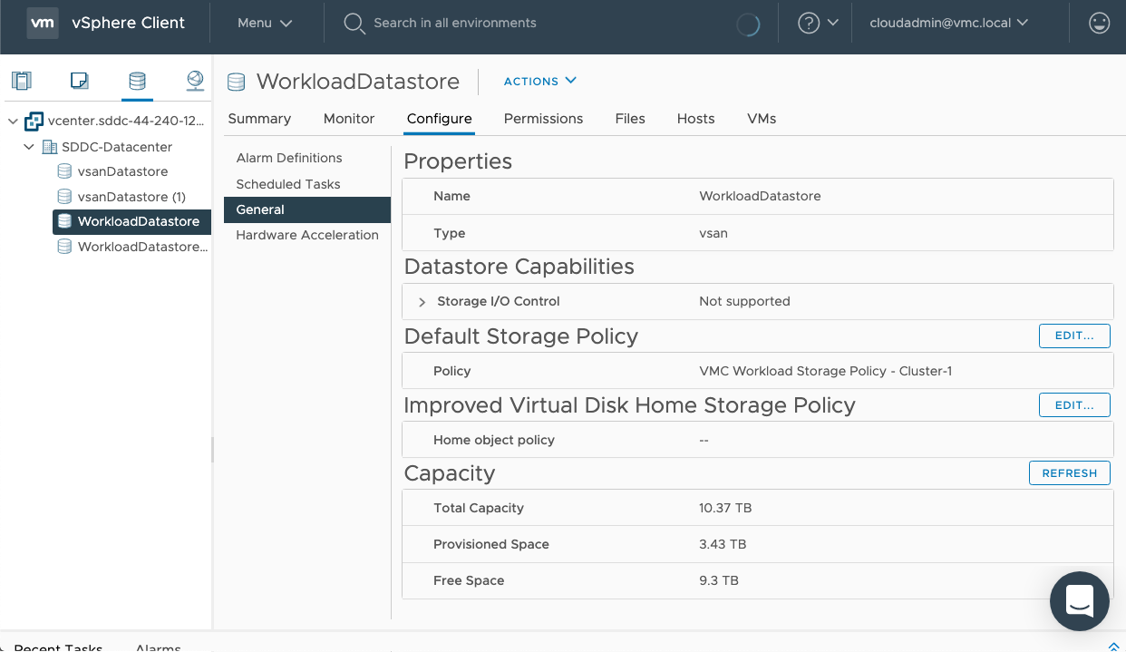 WorkloadDatastore Default Storage Policy set to VMC Workload Storage Policy - Cluster-1